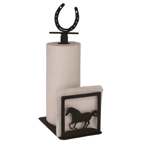 Iron Running Horse/horse Shoe Paper Towel And Napkin Holder
