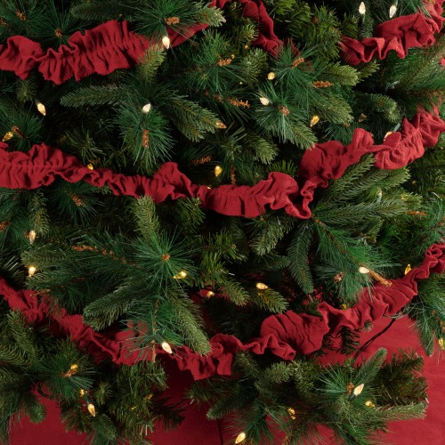 FESTIVE RED BURLAP GARLAND SET OF 3 9FT