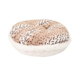 Snow Leopard and Cream Shag Round Bed